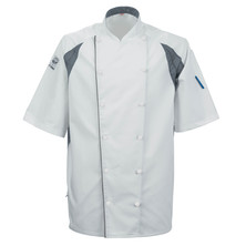 Le Chef DE11G Staycool Jacket With New Capped Studs White & Grey Coolmax Panels