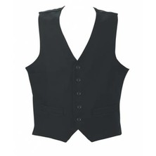 Waistcoat Gent's Black Polyester With Black Buttons