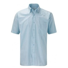 Oxford Weave Blouse Button Down Collar Short Sleeves Light Blue