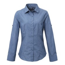 Chambray Blouse Roll Sleeve