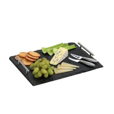 Slate Cheese Serving Platter With Knives