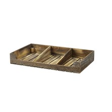 Rustic Wooden Display Crate With Dividers 53cm X 32cm X 8cm