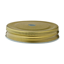 Gold Lid With Straw Hole For SG382 Alabama Handled Jar 7cm Dia (Box Of 24)