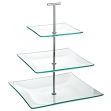 Cake Stand Glass 3 Tier Square 24½cm X 20cm X 14½cm