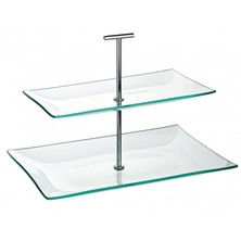 Cake Stand Glass 2 Tier Rectangular 30cm X 16cm