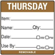 Removable Food Rotation Label (Roll 500) Thursday