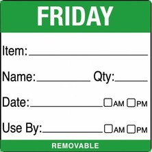 Removable Food Rotation Label (Roll 500) Friday