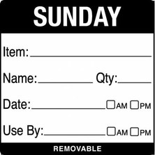 Removable Food Rotation Label (Roll 500) Sunday