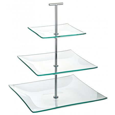SG473~cake stand glass 3 tier square 24cm x 20cm x 14cm P1 - Fresh Global Chefs Knives