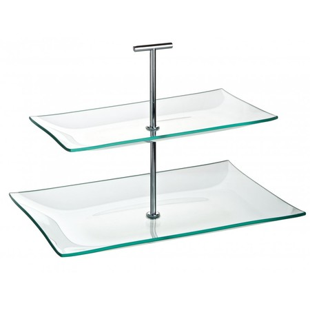 cake stand glass 2 tier rectangular 30cm x 16cm