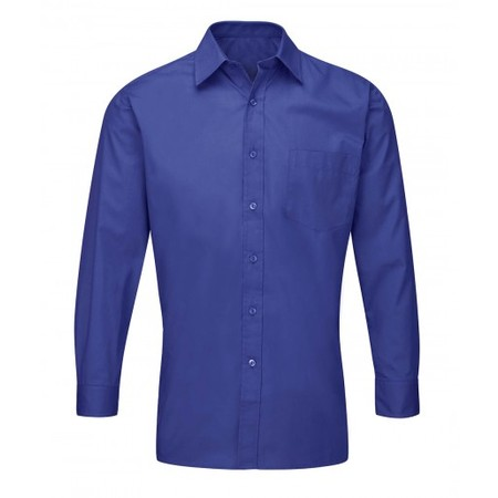 Shirt Plain Collar Royal Blue Polyester Cotton Long Sleeves