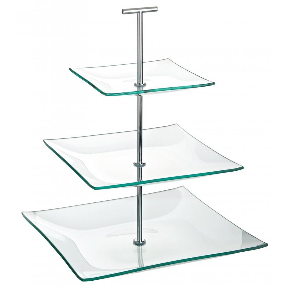 Cake Stand Glass 3 Tier Square 24 189 Cm X 20cm X 14 189 Cm