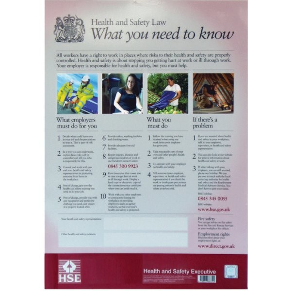 Health Medical Law: Health & Safety Law Poster 415(h) X 297(w)mm