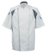 Le Chef DE11G Staycool Jacket With Capped Studs White & Grey Coolmax Panels
