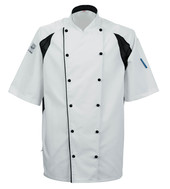 Le Chef DE11A Staycool Jacket With Capped Studs White With Black Coolmax Panels