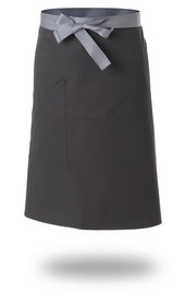 Le Chef DE108C Straight Top Apron Black With Grey Tapes