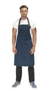 Le Chef DE110 Statement Denim Bib Apron With Leather Neck Strap