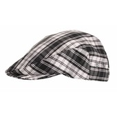 Le Chef DF01C Flat Cap Woven Tartan Black/White