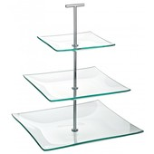 Cake Stand Glass 3 Tier Square 24.5cm X 20cm X 14.5cm