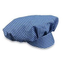 Mob Cap Blue/White Small Check Cotton