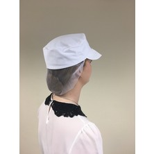 Peaked Cap White With Snood