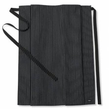Le Chef DE45B Straight Top Apron Woven Pinstripe Black/White