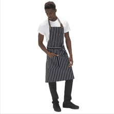 "Le Chef DE110BS Leather Halter Butchers Stripe Bib Apron 28"" X 36"""
