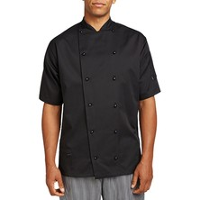 Le Chef Coloured Executive Jacket **Short Sleeves** With Capped Studs Black