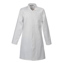 Hygiene Coat White Poly/Cotton Concealed Stud Front & Inside Pocket