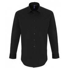 Stretch Fit Cotton Poplin Shirt Long Sleeves