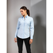 Stretch Fit Cotton Poplin Blouse Long Sleeves