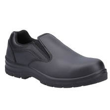 Ladies Black Leather Protective Shoe Slip On