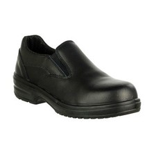 Lady's Black Leather Protective Shoe Slip On