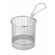Mini Frying Basket Round Stainless Steel With Solid Band 9cm Dia