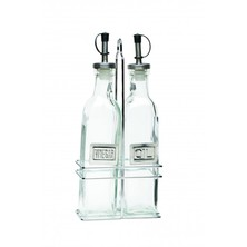 Glass Oil & Vinegar Dispensers With Chrome Stand