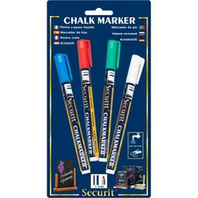 Chalk Marker Coloured 1 - 2mm Round Tip (Pack Of 4)