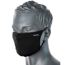 Fabric Face Mask Washable 3 Ply Black Anti-Microbial Finish