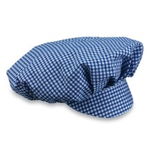 Special Offer Mob Cap Blue/White Small Check Poly/Cotton