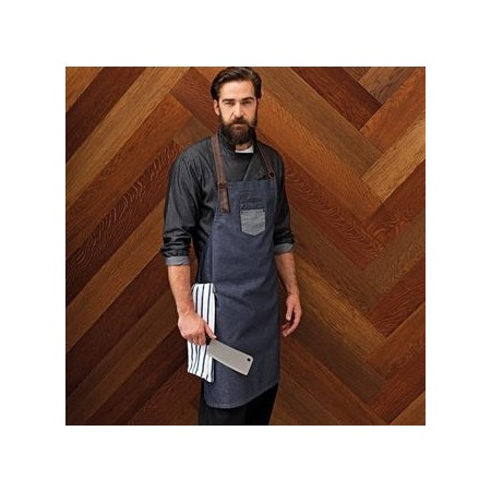 "Waxed Look Bib Apron With Faux Leather Ties And Neckband 28"" X 34"""