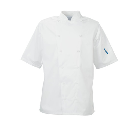 Le Chef DE21ES Staycool Jacket With Removeable Studs & Coolmax Back Short Sleeve White