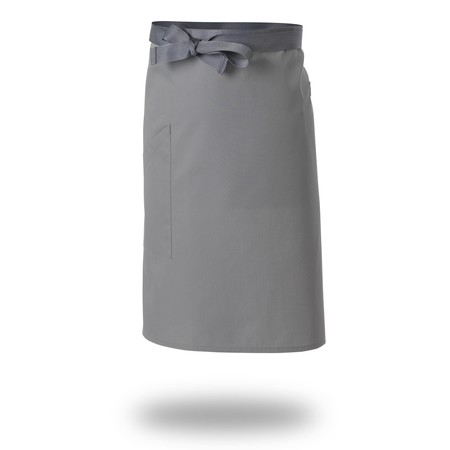 Le Chef DE108Q Straight Top Apron Griffin Grey With Grey Tapes