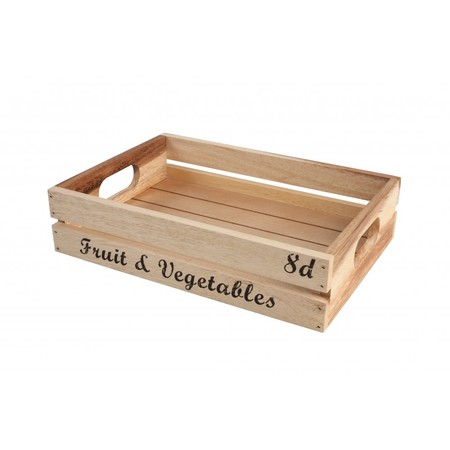 Acacia Baroque Storage Crate With Text 30cm X 21cm X 7cm