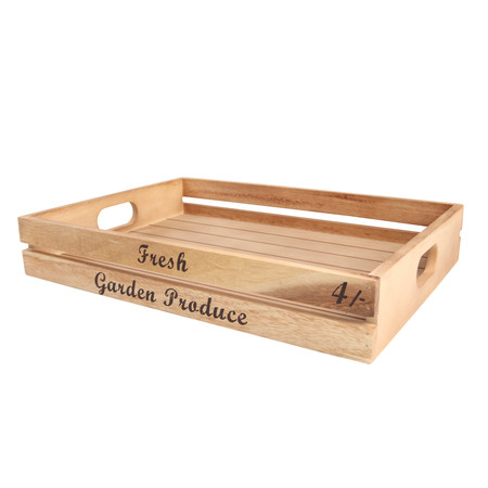 Acacia Baroque Storage Crate With Text 42cm X 30cm X 7cm