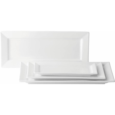 "Anton Black Fine China Matrix Rectangular Plate 12""x7""/30x18cm (Box of 6)"
