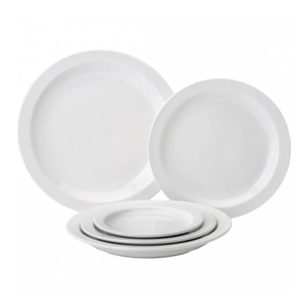 Pure White Porcelain Narrow Rim Plate 27.3cm (Box of 18)