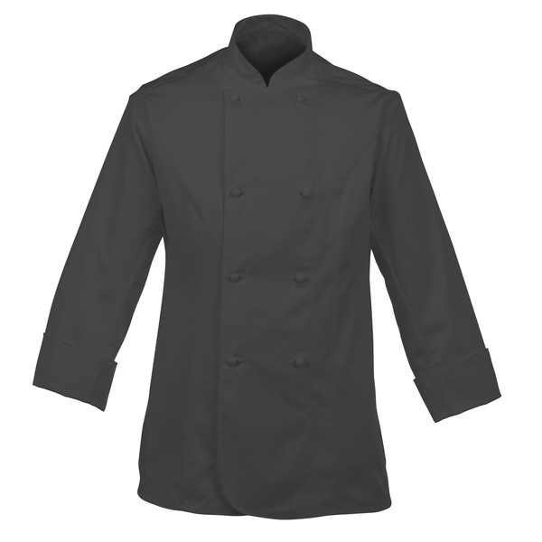 Ladies Chefs Jacket Black With Capped Studs