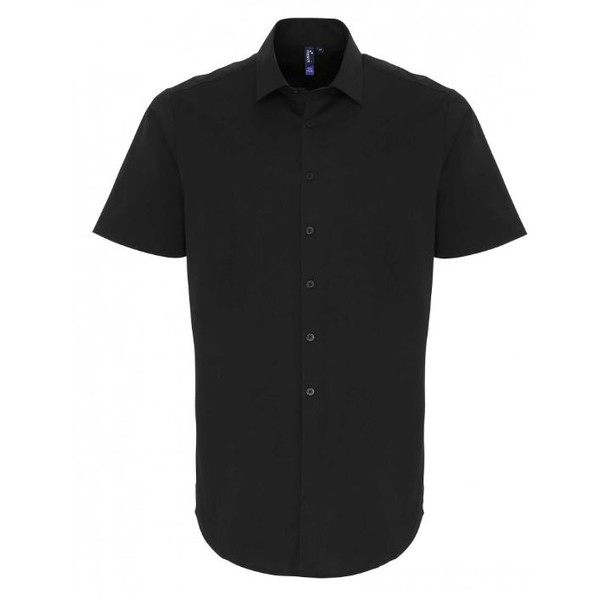 Stretch Fit Cotton Poplin Shirt Short Sleeves