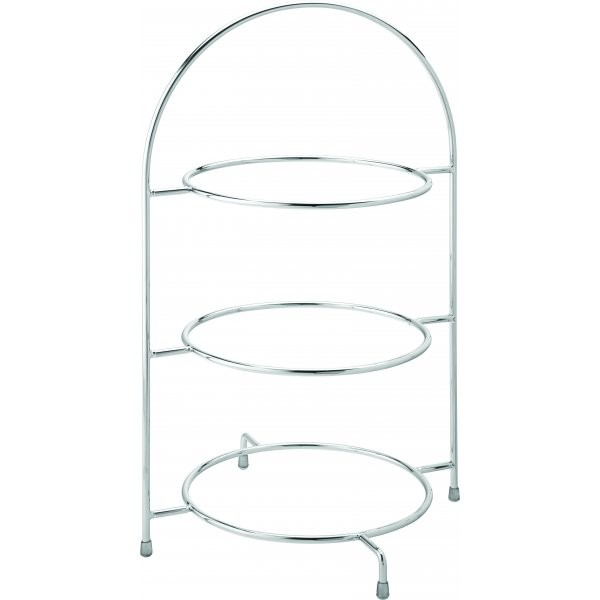 Chrome Plate Stand 3 Tier 43cm To Hold 3 X 25cm Plates
