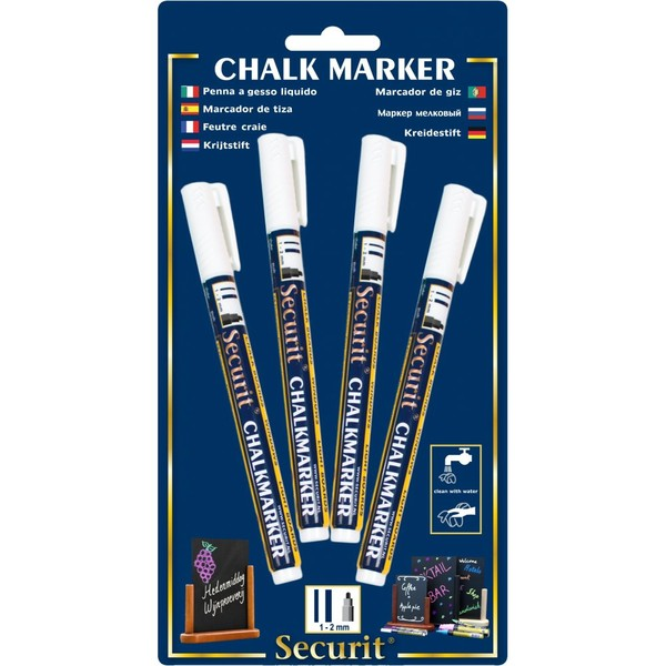 Chalk Marker White 1 - 2mm Round Tip (Pack Of 4)
