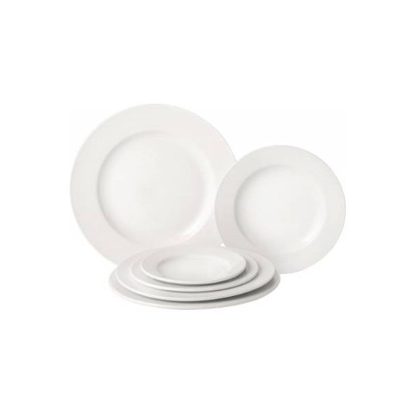 Pure White Porcelain Wide Rim Plate 25cm (Box of 24)